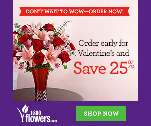 Order Early for Valentine's Day & Save 25% at 1800flowers.com! Use Promo Code VDAYERLY25 at checkout! (Delivery restrictions apply)