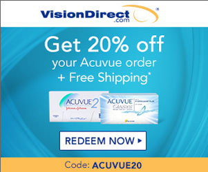 20% off all Acuvue contact lens orders! Use ACUVUE20 at checkout!